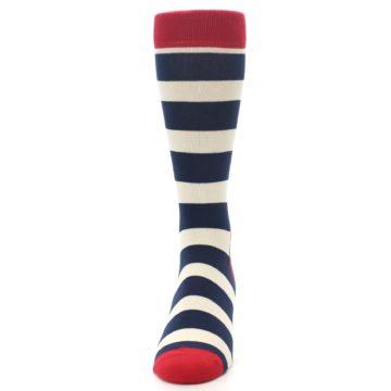 Image of Navy Red White Stripe Men's Dress Socks (front-05)