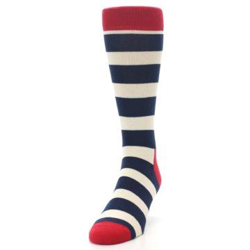 Image of Navy Red White Stripe Men's Dress Socks (side-2-front-06)