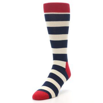 Image of Navy Red White Stripe Men's Dress Socks (side-2-front-07)