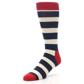 Image of Navy Red White Stripe Men's Dress Socks (side-2-front-08)