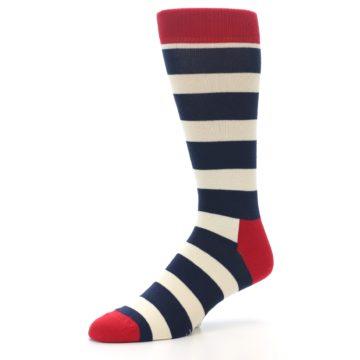 Image of Navy Red White Stripe Men's Dress Socks (side-2-09)