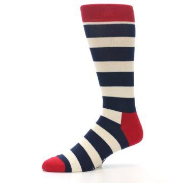 Image of Navy Red White Stripe Men's Dress Socks (side-2-10)