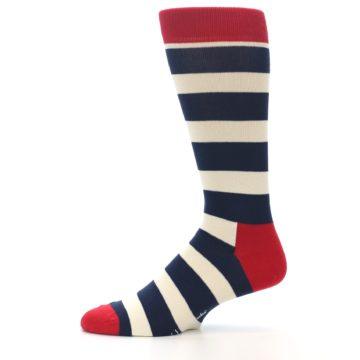 Image of Navy Red White Stripe Men's Dress Socks (side-2-11)