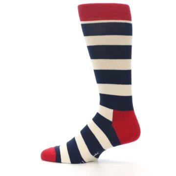 Image of Navy Red White Stripe Men's Dress Socks (side-2-12)