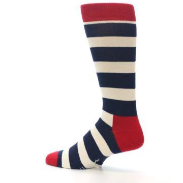 Image of Navy Red White Stripe Men's Dress Socks (side-2-13)