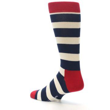 Image of Navy Red White Stripe Men's Dress Socks (side-2-back-14)