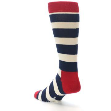 Image of Navy Red White Stripe Men's Dress Socks (side-2-back-15)