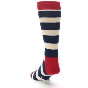 Image of Navy Red White Stripe Men's Dress Socks (side-2-back-16)