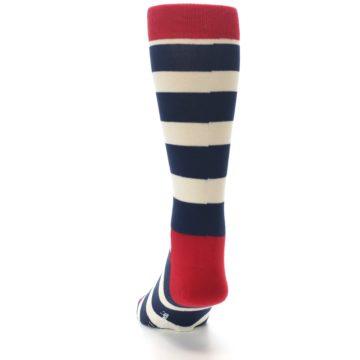 Image of Navy Red White Stripe Men's Dress Socks (back-17)
