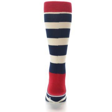 Image of Navy Red White Stripe Men's Dress Socks (back-18)