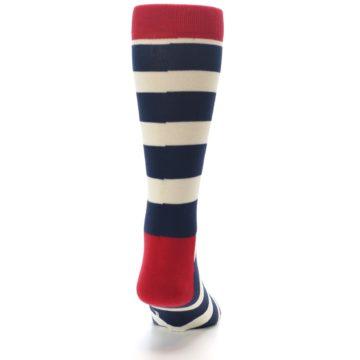 Image of Navy Red White Stripe Men's Dress Socks (back-19)