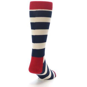 Image of Navy Red White Stripe Men's Dress Socks (side-1-back-20)