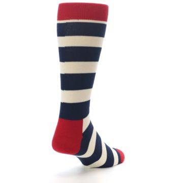 Image of Navy Red White Stripe Men's Dress Socks (side-1-back-21)