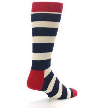 Image of Navy Red White Stripe Men's Dress Socks (side-1-back-22)