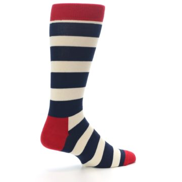 Image of Navy Red White Stripe Men's Dress Socks (side-1-23)
