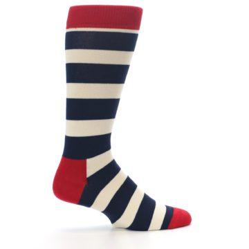 Image of Navy Red White Stripe Men's Dress Socks (side-1-24)