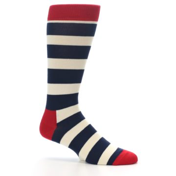 Image of Navy Red White Stripe Men's Dress Socks (side-1-25)