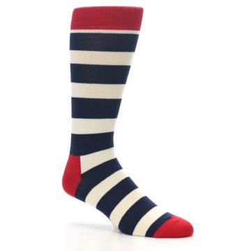 Image of Navy Red White Stripe Men's Dress Socks (side-1-26)