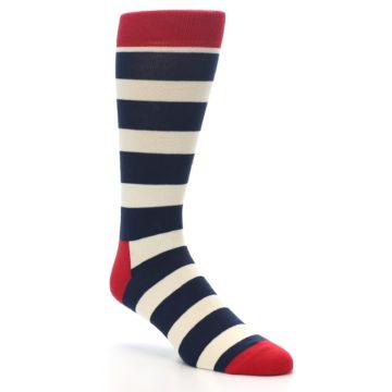 Image of Navy Red White Stripe Men's Dress Socks (side-1-27)