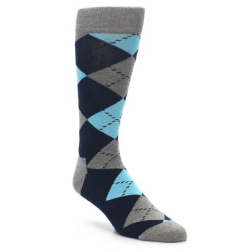 Image of Grey Navy Blue Argyle Men's Dress Socks (side-1-front-01)