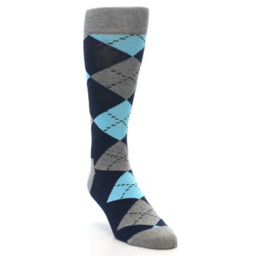 Image of Grey Navy Blue Argyle Men's Dress Socks (side-1-front-02)