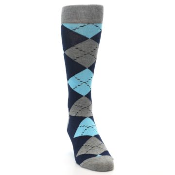 Image of Grey Navy Blue Argyle Men's Dress Socks (side-1-front-03)