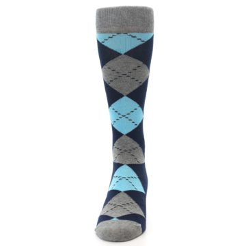 Image of Grey Navy Blue Argyle Men's Dress Socks (front-05)