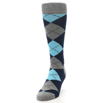 Image of Grey Navy Blue Argyle Men's Dress Socks (side-2-front-06)