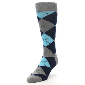 Image of Grey Navy Blue Argyle Men's Dress Socks (side-2-front-07)