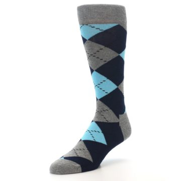 Image of Grey Navy Blue Argyle Men's Dress Socks (side-2-front-08)