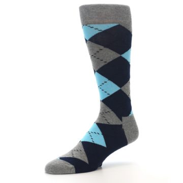 Image of Grey Navy Blue Argyle Men's Dress Socks (side-2-09)