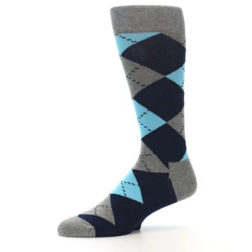 Image of Grey Navy Blue Argyle Men's Dress Socks (side-2-10)
