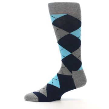 Image of Grey Navy Blue Argyle Men's Dress Socks (side-2-11)