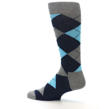 Image of Grey Navy Blue Argyle Men's Dress Socks (side-2-13)