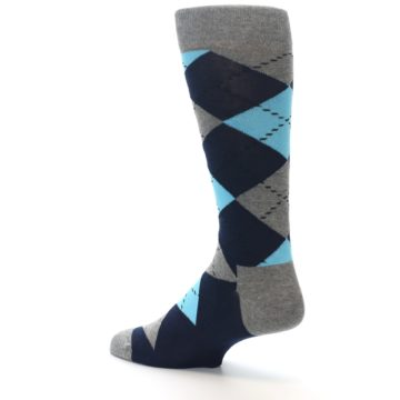 Image of Grey Navy Blue Argyle Men's Dress Socks (side-2-back-14)