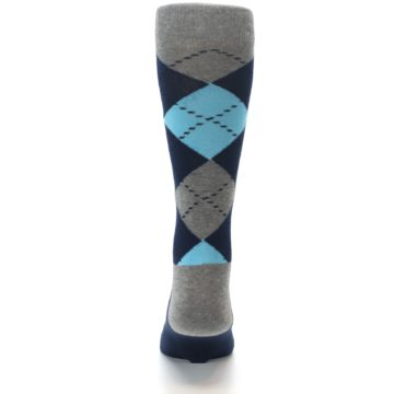 Image of Grey Navy Blue Argyle Men's Dress Socks (back-18)