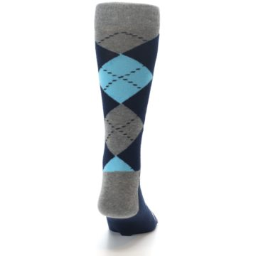Image of Grey Navy Blue Argyle Men's Dress Socks (back-19)