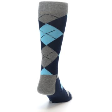 Image of Grey Navy Blue Argyle Men's Dress Socks (side-1-back-20)