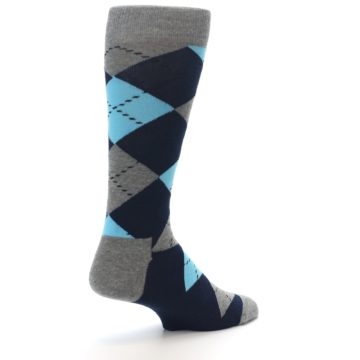 Image of Grey Navy Blue Argyle Men's Dress Socks (side-1-back-22)