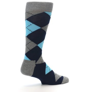 Image of Grey Navy Blue Argyle Men's Dress Socks (side-1-23)