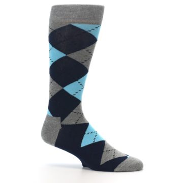 Image of Grey Navy Blue Argyle Men's Dress Socks (side-1-25)