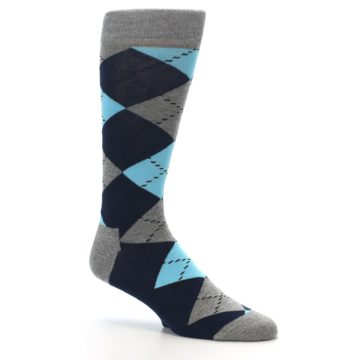 Image of Grey Navy Blue Argyle Men's Dress Socks (side-1-26)