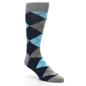 Image of Grey Navy Blue Argyle Men's Dress Socks (side-1-27)