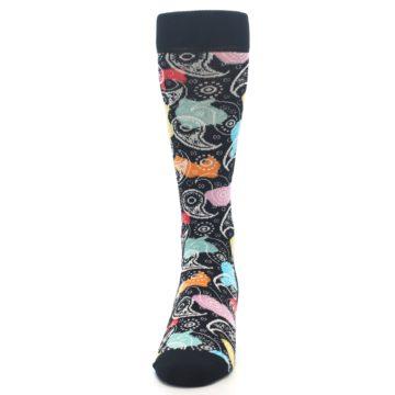Image of Black Bright Multi Color Paisley Men's Dress Socks (front-05)