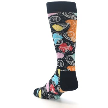 Image of Black Bright Multi Color Paisley Men's Dress Socks (side-2-back-15)
