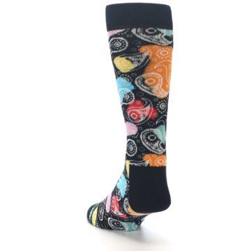 Image of Black Bright Multi Color Paisley Men's Dress Socks (side-2-back-16)
