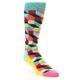 Image of Teal Bright Multi Color Optical Men's Dress Socks (side-1-front-01)
