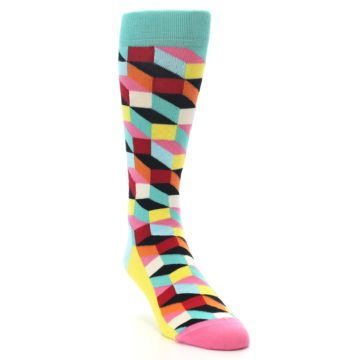Image of Teal Bright Multi Color Optical Men's Dress Socks (side-1-front-02)