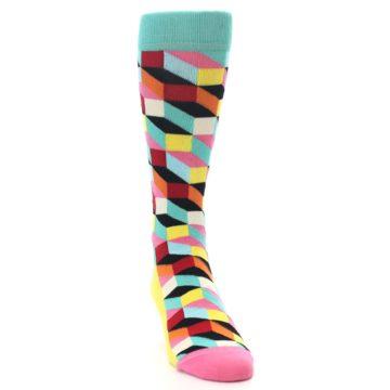 Image of Teal Bright Multi Color Optical Men's Dress Socks (side-1-front-03)