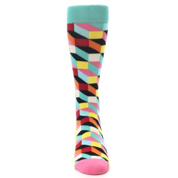 Image of Teal Bright Multi Color Optical Men's Dress Socks (front-04)